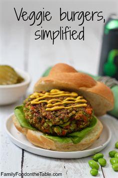 Simplified veggie burgers - just 3 veggies and seasonings to keep it easy!   FamilyFoodontheTable.com