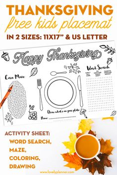 Free printable Thanksgiving kid placemat - activity sheet with word search, corn maze, drawing and coloring. 2 sizes: US letter and placemat Thanksgiving Word Search, Thanksgiving Placemats, Thanksgiving Words, Free Thanksgiving Printables, Thanksgiving Projects, Thanksgiving Parties, Thanksgiving Activities, Free Printables, Party Printables