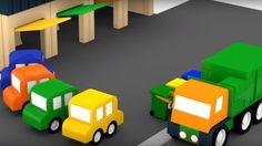 Spanish Cartoons. Cuatro coches coloreados. Un camión de la basura: mane...