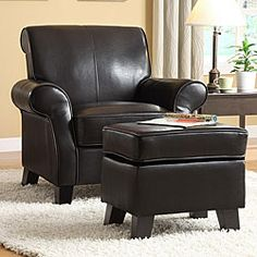 Add comfort and style to your home decor with this bi-cast leather club chair with ottoman. Featuring well padded arms, a high back and deep seat, it is perfect for relaxing at the end of the day.