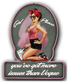 Vintage and Retro Tin Signs - JackandFriends.com - Girl Please Pinup Girl Metal Sign 13 x 16 Inches, $29.98 (http://www.jackandfriends.com/girl-please-pinup-girl-metal-sign-13-x-16-inches/)