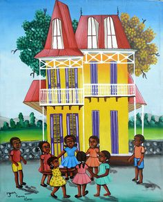 """Haitian Canvas Painting - Gingerbread House - Haitian Children -  Art of Haiti, Canvas Art, Haitian Art, Original Painting - 20"""" x 24"""" by TropicAccents on Etsy"""