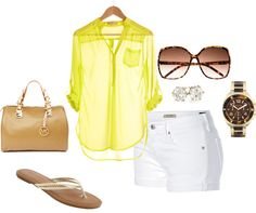 A pop of neon, created by jennabarclay on Polyvore
