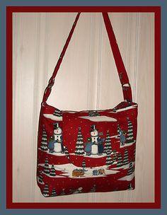 Winter Christmas SNOWMAN cross body purse tote messenger bag Deb Strain  SNOW Christmas Purse c7e0b288a8cd7