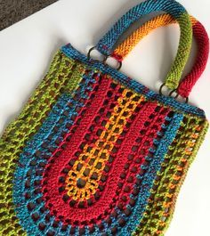 """New Cheap Bags. The location where building and construction meets style, beaded crochet is the act of using beads to decorate crocheted products. """"Crochet"""" is derived fro Crotchet Bags, Crochet Tote, Crochet Handbags, Crochet Purses, Knitted Bags, Love Crochet, Filet Crochet, Crochet Crafts, Crochet Stitches"""