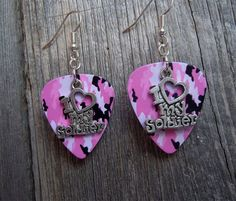 I Love My Soldier Guitar Pick Earrings - Pick Your Pattern