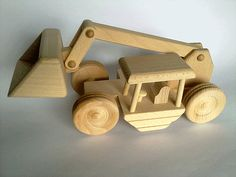 Wooden excavator ecofriendly organic toy by PolishFolkArtShop, £12.90
