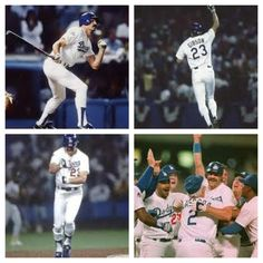 Voted the Greatest Moment in Los Angeles Dodgers History ~ Kirk Gibson's Home Run ~ Game 1 of the 1988 World Series vs. Oakland A's Dodgers Win, Dodgers Nation, Dodgers Baseball, Baseball Jerseys, Dodgers Today, Baseball Uniforms, Baseball Caps, Football, 1988 World Series