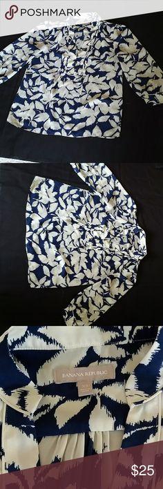 Navy and White Banana Republic Blouse Navy blue, white leaf pattern Banana Republic Tops Blouses