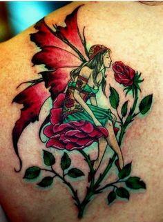 Smell the Flower Fairy Tattoo Faerie Tattoo, Fairy Wing Tattoos, Butterfly Wing Tattoo, Head Tattoos, Body Art Tattoos, Tattoo Wings, Mouse Tattoos, Side Tattoos, Pink Rose Tattoos
