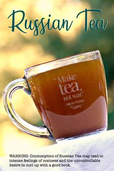 WARNING: Consuming Russian Tea may lead to intense feelings of coziness and an uncontrollable desire to read a good book by a warm fire. Russian Tea Cookies, Russian Tea Cake, Tea Recipes, Cooking Recipes, Fall Recipes, Curry Recipes, Christmas Recipes, Drink Recipes, Vegetarian Recipes