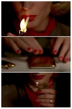 """Carol"" (dir. Todd Haynes, 2015) #Carolmovie details - martini, perfectly manicured nails, red lips, diamond ring, gold cigarette case and lighter - the instruments of #seduction"