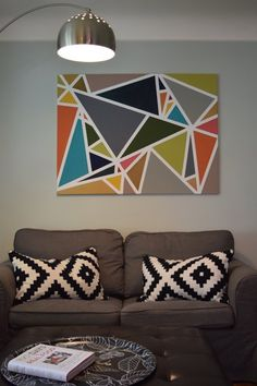 This original artwork is worthy of emulating as your own DIY art piece: canvas + painter's tape + paint and voila! //Jenny & Jim's Appreciation of Art — House Tour Visit and find your canvas Tape Painting, Painters Tape Art, Painting Canvas, Cooler Painting, Painting Abstract, Acrylic Paintings, Tableau Pop Art, Geometric Wall Art, Geometric Shapes