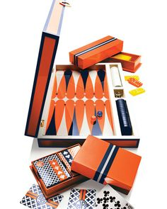Jonathan Adler Lacquer Card, Backgammon, and Domino Sets Backgammon Game, Two Player Games, Bee Gifts, Jonathan Adler, Game Pieces, Gifts For Her, Orange, Neiman Marcus, Board Games