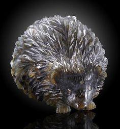 Labradorite Carving of a Hedgehog with Diamond Eyes