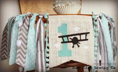 Airplane Birthday Banner Highchair High Chair Vintage Biplane Up Up And Away…