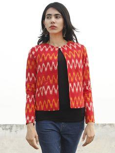 Red Yellow Ivory Hand Woven Ikat Crop Jacket With Front Pockets - Kurti Neck Designs, Kurta Designs Women, Dress Neck Designs, Blouse Designs, Choli Designs, Kalamkari Dresses, Ikkat Dresses, Shrug For Dresses, Indian Gowns Dresses