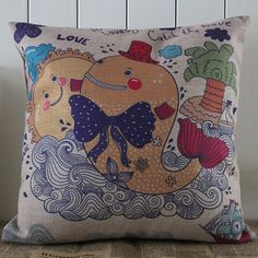 45x45cm Cartoon Fish Colorful in the Sea pillow case Cushion Cover Children Gift