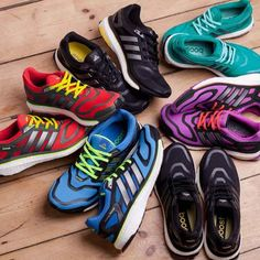 Bright Adidas Boost running trainers