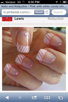 Pink with white candy stripe tips nail art design - Diy Nail Designs French Nail Art, French Nail Designs, French Tip Nails, Nail Art Designs, French Tips, Nails Design, Great Nails, Fabulous Nails, Gorgeous Nails