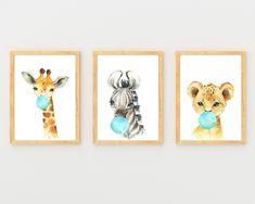 Zoo Animals Blowing Blue Bubble Gum, Set of 3 Wall Art Prints, Baby Giraffe Lion Zebra by HolaSunshineDesigns on Etsy Gold Nursery, Baby Nursery Decor, Colorful Playroom, Adventure Nursery, Jungle Nursery, Floral Printables, Preschool Art, Party Signs, Safari Animals