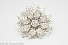 White Gold Round Diamond Blooming Flower Ring with Moving Petals