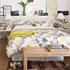 Gray and Yellow Bedroom - Cottage - bedroom - Southern Living Gray Bedroom, Master Bedroom, Master Suite, Gray Bedding, Bedroom Beach, Clean Bedroom, Surfer Bedroom, Upstairs Bedroom, Master Bath