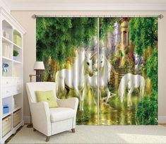 Horses With Trees Blockout Photo Curtain Print Curtains Drapes Fabric Window 3d Curtains, Printed Curtains, Photo Wall Stickers, Koi Fish Pond, Pink And White Flowers, Beach Landscape, Graffiti Wall, Draped Fabric, Large Photos