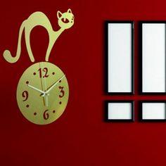 Moderné nalepovacie hodiny mačka zlatá .