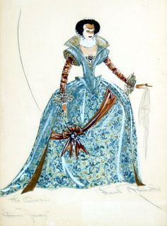 """Leah Rhodes costume sketch for """"The Adventures of Don Juan"""""""