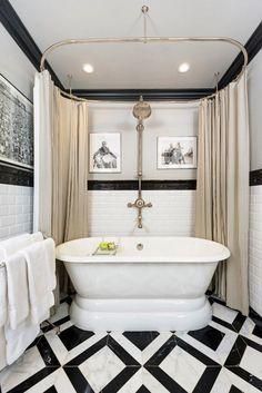 Black White Tile Bathroom Grey: 10 Eye-Catching And Luxurious Black And White Bathroom Ideas Bathroom Renos, Small Bathroom, Master Bathroom, Bathroom Ideas, Bathtub Ideas, Design Bathroom, Bathroom Flooring, Modern Bathroom, Clawfoot Tub Bathroom