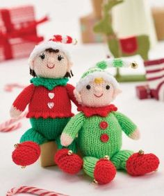 Buddy & Belle Elf Babies; free knitting pattern by Zoe Halstead; available at www.letsknit.co.uk