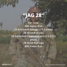 """""""Jag 28"""" WOD - For Time: 800 meter Run; 28 Kettlebell Swings (2/1.5 pood); 28 Strict Pull-Ups; 28 Kettlebell Clean-and-Jerk (2 x 2/1.5 pood); 28 Strict Pull-Ups; 800 meter Run"""