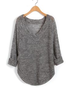 Gray V Neckline sweater. Love the thermal knit texture
