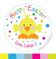 New to Mariapalito on Etsy: Happy Easter PRINTED Stickers Happy Easter Round Stickers Personalized Envelope Seals A576 (6.00 USD)