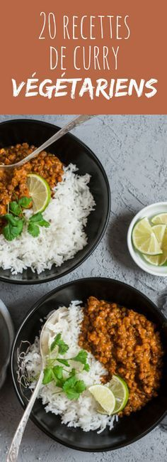 Chickpea curry, eggplant, zucchini with coconut milk or carrots . 20 recipes of vegetarian curry! Batch Cooking, Easy Cooking, Healthy Cooking, Healthy Eating, Cooking Recipes, Curry Recipes, Veggie Recipes, Indian Food Recipes, Vegetarian Recipes