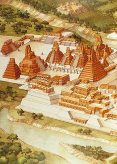 Tikal-North Acropolis & Temples I & II: http://archsoc.westphal.drexel.edu/New/Tikal%20Birds-eye%20reconstruction%20of%20Tikals%20North%20Acropolis.jpg