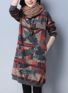 Cotton Floral Long Sleeve Knee-Length Shift Dress