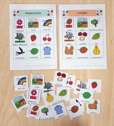 ARASAAC - Materiales: Bingo de Las cuatro estaciones del año Bingo, Bullet Journal, Seasons Of The Year, Speech And Language, Pictogram, Parking Lot, Activities For Kids