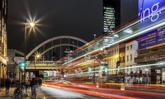 Shoreditch High Street | Flickr - Photo Sharing! City Landscape, Sydney Harbour Bridge, Times Square, England, London, Explore, Night, Street, Landscapes