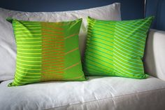 Marimekko Cotton Pillow Covers - Set of 2 - 20x20 inches - Lime Green / Green with Pink / Red / Yellow / Blue Stripes by ThimbleAndTag $44