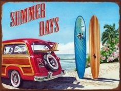 Summer Days Metal Sign, Surfing, Vintage Woody,Tropics, Pool and Patio Decor #OMSC #Americana