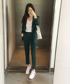 Blazer Women New Spring and Autumn New Womens Wild Suit Straight Trousers Blazer Feminino Bleiser Feminino Women Clothes Office Outfits Women, Casual Work Outfits, Professional Outfits, Teen Fashion Outfits, Mode Outfits, Classy Outfits, Trendy Outfits, Work Casual, Womens Formal Pants Outfits