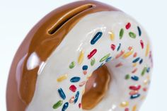 Seconds Sale Ceramic Doughnut Coin Bank Vanilla by modclay on Etsy, $20.00