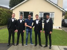 🏐 Those Who Play Together, Stay Together 🏐  Pictured here is Sligo man David Rooney on the morning of his big day alongside his two brother's and close friends.  All the lads in the picture have been together since they were old enough to solo a ball and the Johns men have stuck together since.  Mark C was on hand that morning to make sure no stone was left unturned as the lads were kitted in these sharp black tuxedos from our award-winning formal department. Black Tuxedos, Close Friends, Big Day, Brother, Wedding Day, David, Play, Formal, Stone