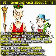 50 Interesting Facts about China | 01. For the 2008 Olympics in Beijing, the Chinese government announced that people could apply for permits to protest in designated areas. None of the permits were granted, and many of those who applied disappeared or were arrested. | 02. Basketball player Yao Ming's conservation campaigns have led to a 50% reduction in the consumption of shark fin soup in China.