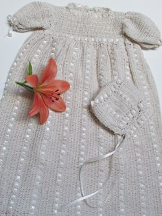 Baby Christening Set Handmade Vintage Style Baby Set by knitwhats,