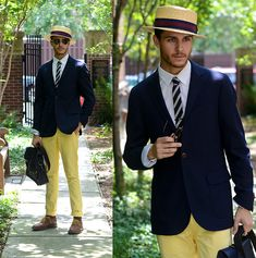 Blazer, Tie, Hat, Yellow Chinos, Ted Baker Bag, Oxfords, Ray Ban Clubmasters