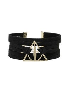 "Sueded faux leather strappy bracelet from  Harry Potter  featuring a gold tone Deathly Hallows symbol, comprised of the Elder Wand, Resurrection Stone and Cloak of Invisibility. Gold tone hardware.   7"" long; 2"" chain  Alloy; man-made materials  Imported"