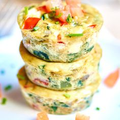 I love that these healthy egg muffin cups can be made in advance. These muffin cups have less than 50 calories per muffin and are packed with vegetables.